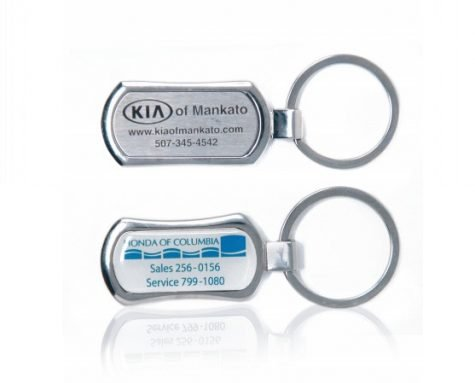 Chrome Line Metal Key Fobs - Oblong