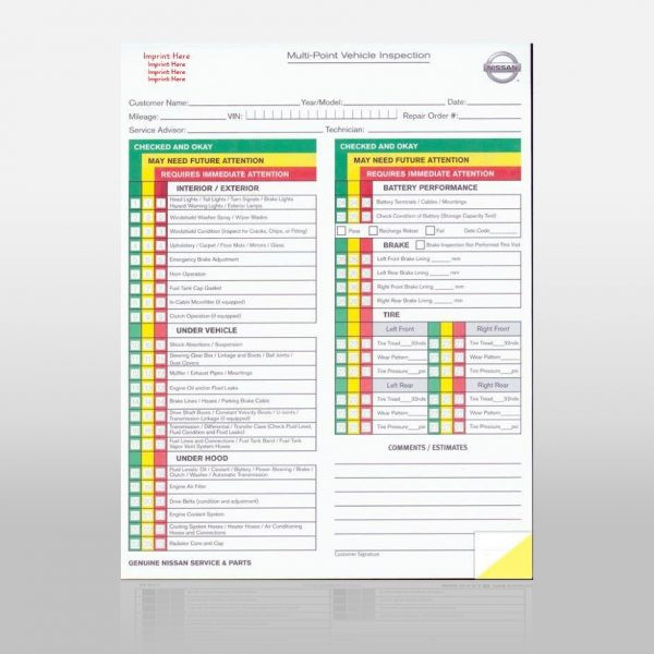Multi Point Inspection Forms Nissan 2 Part